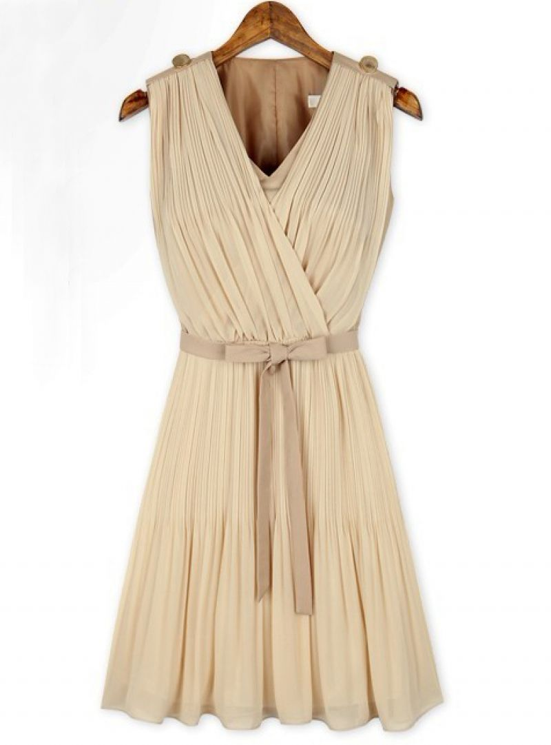 d2e6241bb79f8 Apricot Sleeveless V Neck Belt Pleated Dress | J. FASHION ...