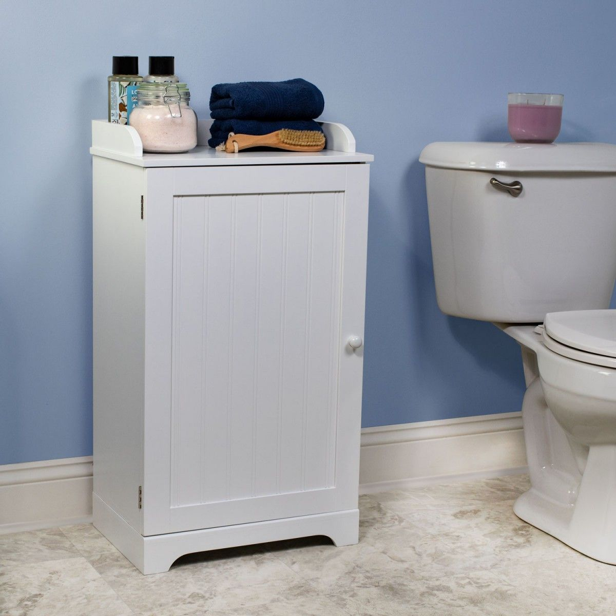 Bennington Country Cottage White Bathroom Floor Storage Cabinet