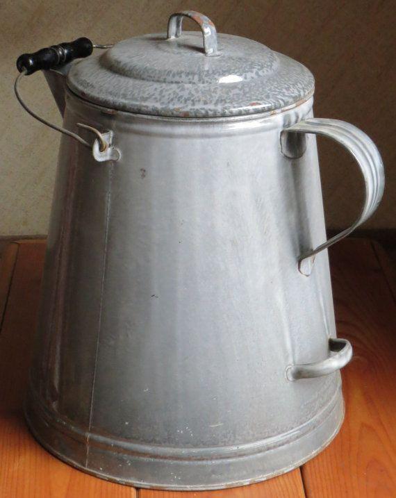Grey Unused Cowboy Coffee Pot Speckled Enamelware