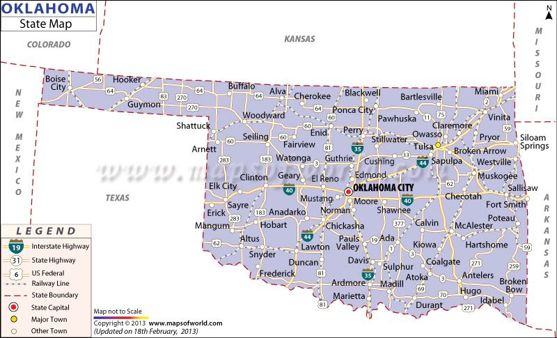 oklahoma state map highlighting the capital counties major cities rail line and road networks map of oklahoma also shows the us federal interstate and