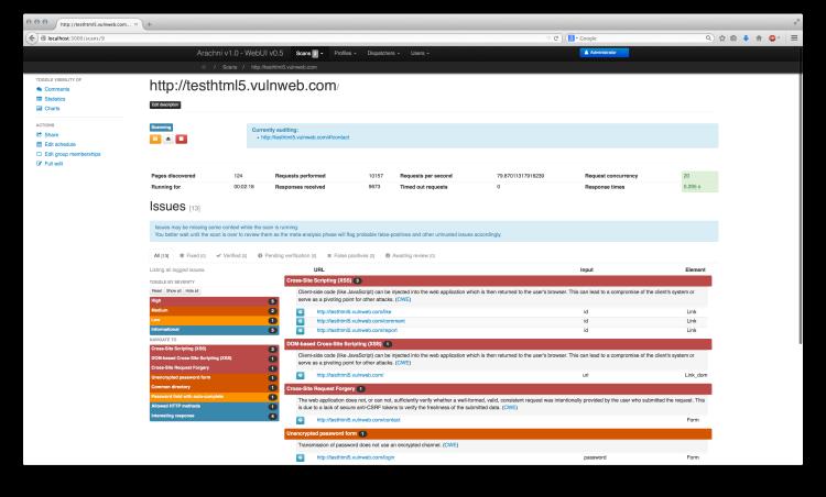 arachni Web application security scanner framework Web