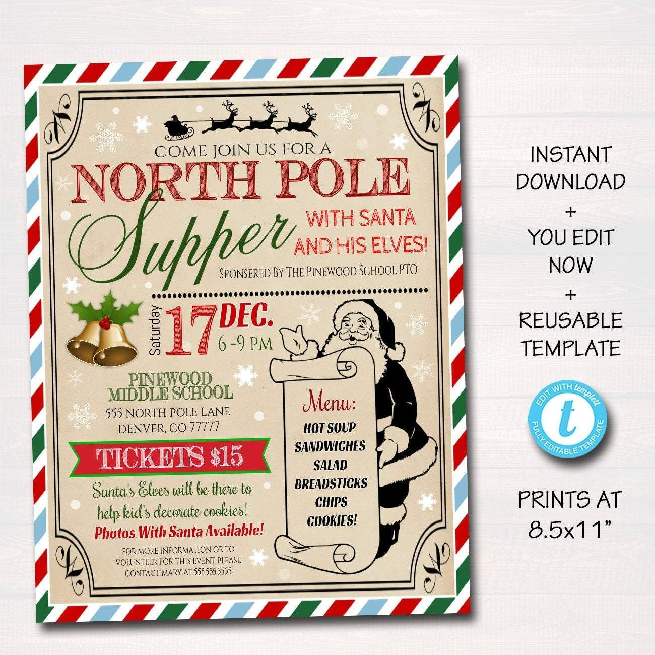 EDITABLE Supper with Santa Flyer & tickets North Pole Dinner Invitation, Kids Christmas Party, Printable Community Holiday Event Flyer #northpolebreakfast EDITABLE Supper with Santa Flyer & tickets North Pole Dinner Invitation, Kids Christmas Party, Printable Community Holiday Event Flyer #northpolebreakfast