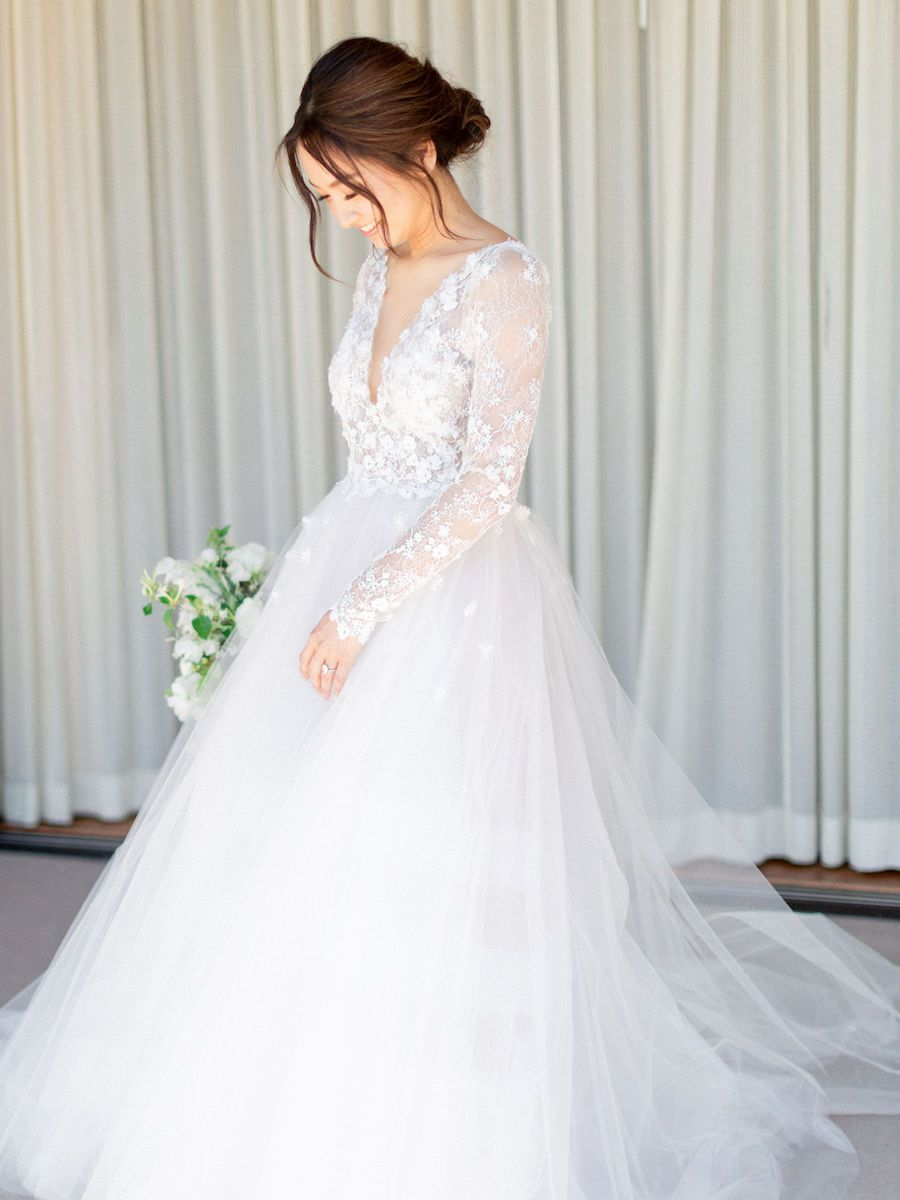 Romantic Getaway California Wedding With Gorgeous Cherry Blossom Branches Modwedding In 2020 Purple Wedding Dress Wedding Dress Cost Average Wedding Dress Cost