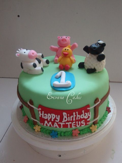 Farm Animals Cake 1 B044 boys birthday cakes Pinterest Farm