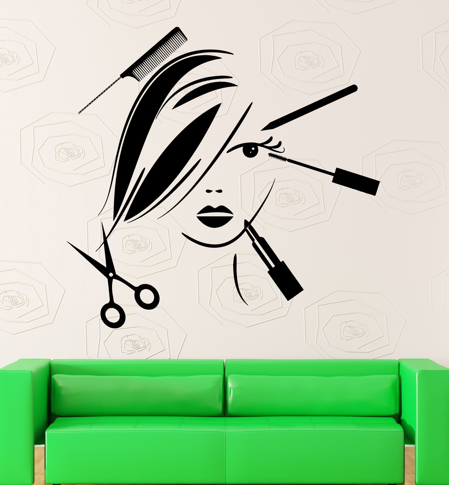 Vinyl Decal Beauty Salon Decor Hair Stylist Tools Spa Barber Style - Custom vinyl wall decals for hair salonvinyl wall decal hair salon stylist hairdresser barber shop