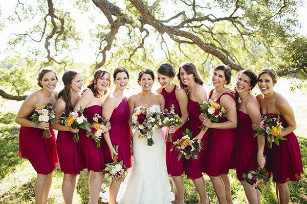 Modern And Luxurious Urban Wedding Red Bridesmaids Grey Weddings