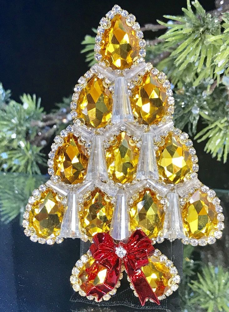 light amber topaz vintage rhinestone christmas tree pin brooch laheir ebay