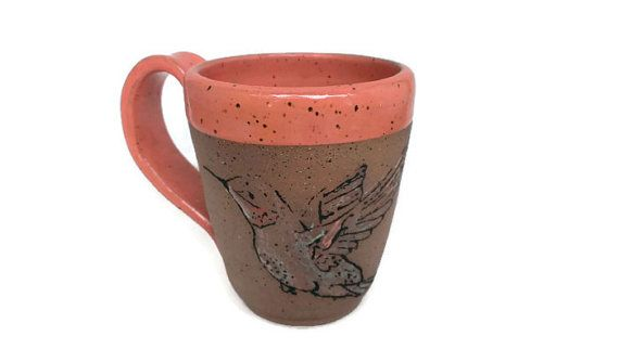 Hand Painted Peachy Hummingbird Pottery Mug by FairFolkPottery