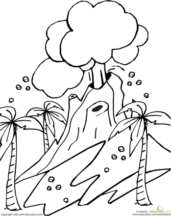 Volcano Coloring Page Coloring pages, Coloring books