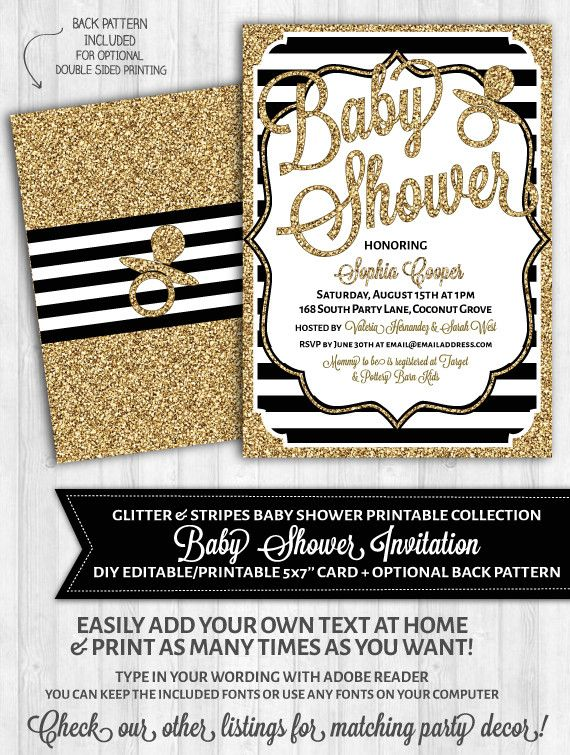 separation shoes 72fe0 87846 Baby Shower Invitations  Black and White Stripes   Gold Glitter in ...