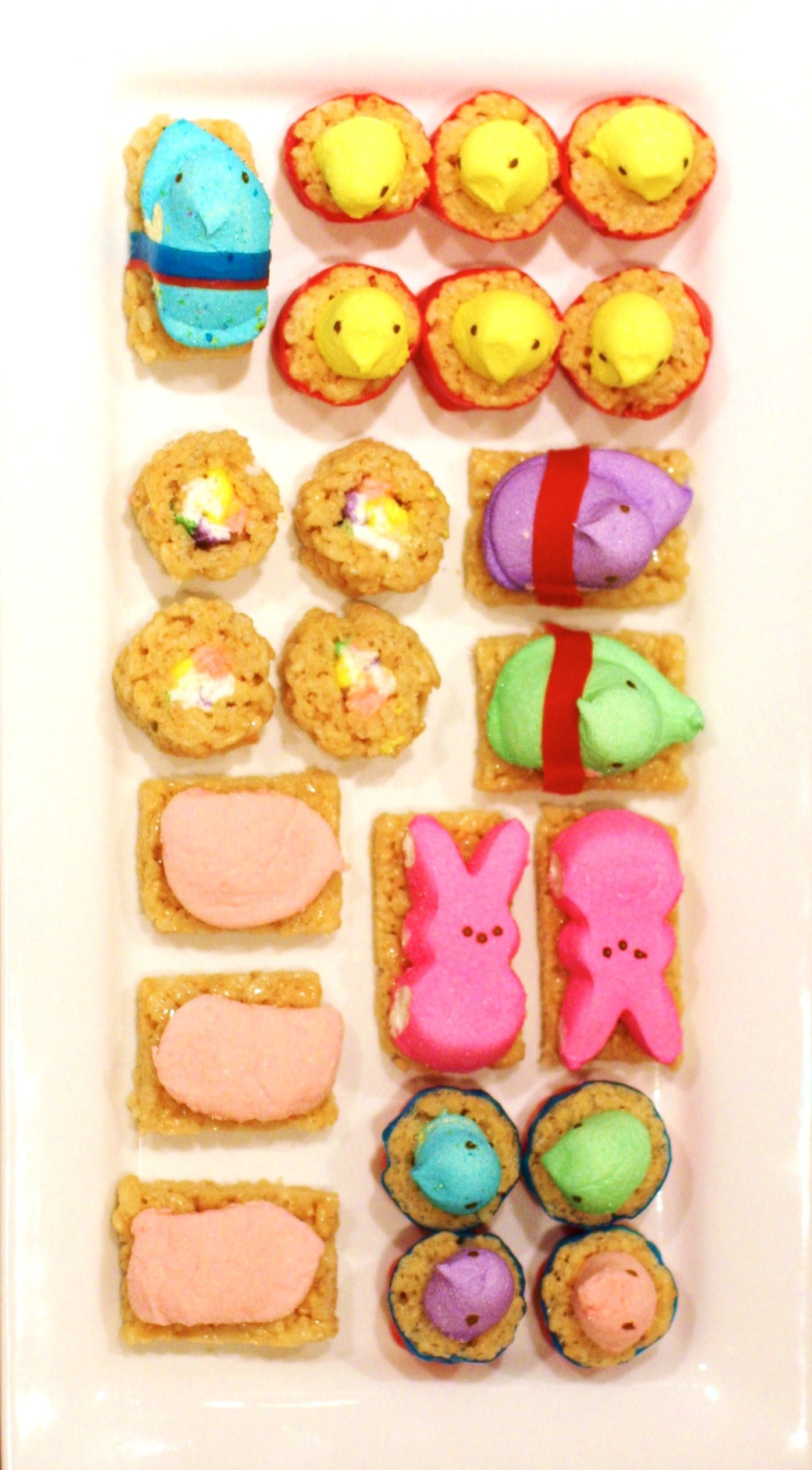 "'Like' to vote for Jen Goemans' @jen goemans   Peeps Sushi or ""Peepshi!"" Inspired by:  http://www.seriouseats.com/recipes/2010/03/peeps-recipes-how-to-make-peepshi-sushi-rice-krispies-treats-easter.html #HSPinParty"