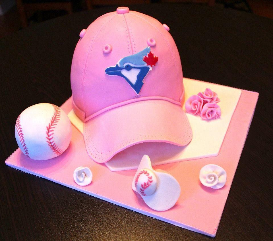 Baby girl blue jays themed baseball cap hat cake 1 Pinterest