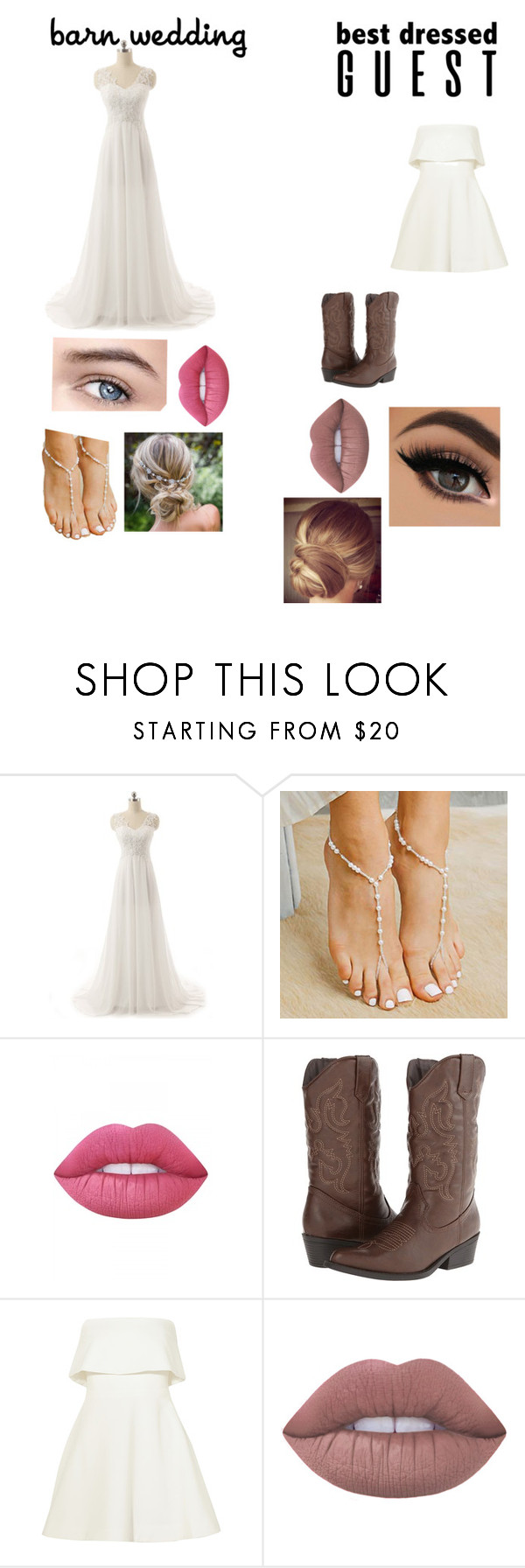"""""""Wedding bride and best dressed"""" by basic-zell ❤ liked on Polyvore featuring Forever Soles, Lime Crime, Madden Girl, Elizabeth and James, bestdressedguest and barnwedding"""