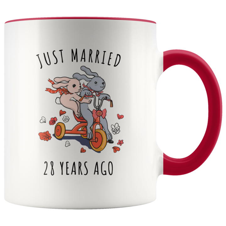 Just Married 28 Years Ago 28th Wedding Anniversary Gift Accent