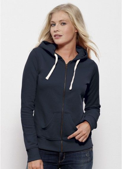 Wanderer ladies   zip  hoodie in Navy.  Fairtrade and made from 85%   organiccotton. Made in Bangladesh and Pakistan. 85379df18d58