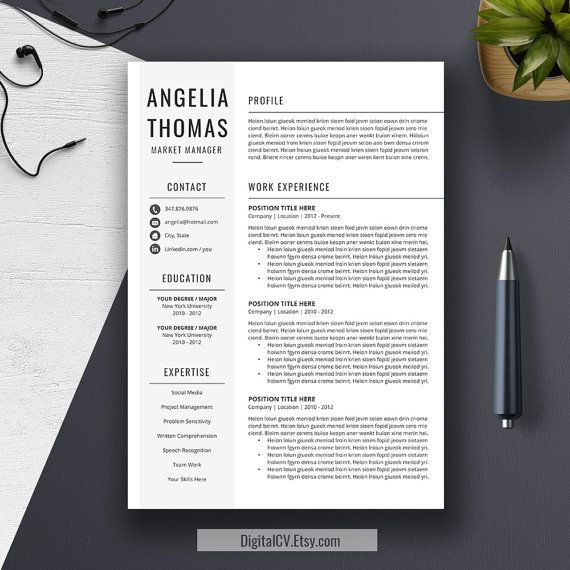 Professional Resume Template, Cover Letter, Word, US Letter, A4 - microsoft word reference letter template
