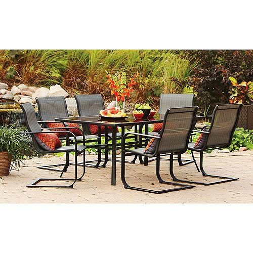 Mainstays Pyros 7 Piece Patio Dining Set Seats 6 Patio