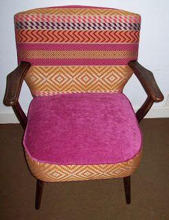 Les Décos d'Emeline: fauteuil cocktail rose shoking et jacquard tendance ethnique. Refait à neuf : 260€