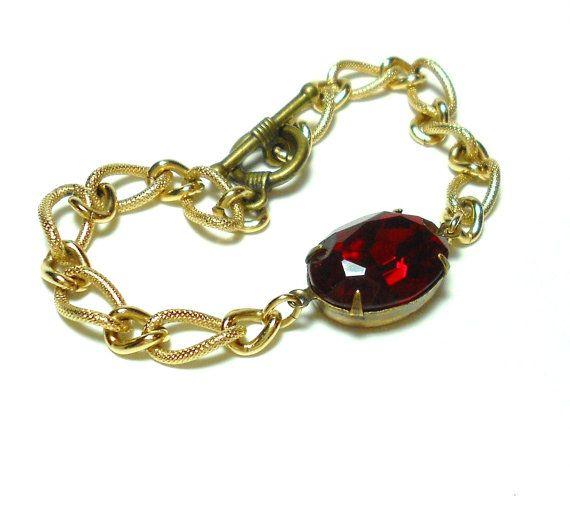 Old Hollywood Vintage Glass Jewel Bracelet