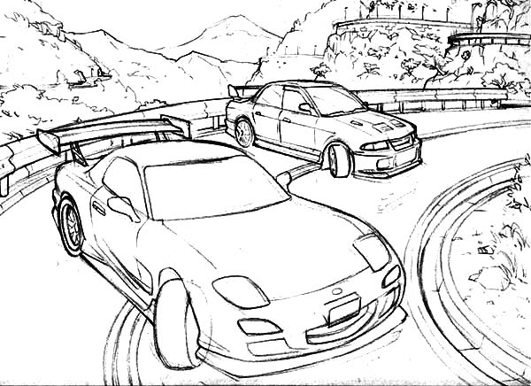 Drifting Cars Up On The Hill Coloring Pages : Kids Play