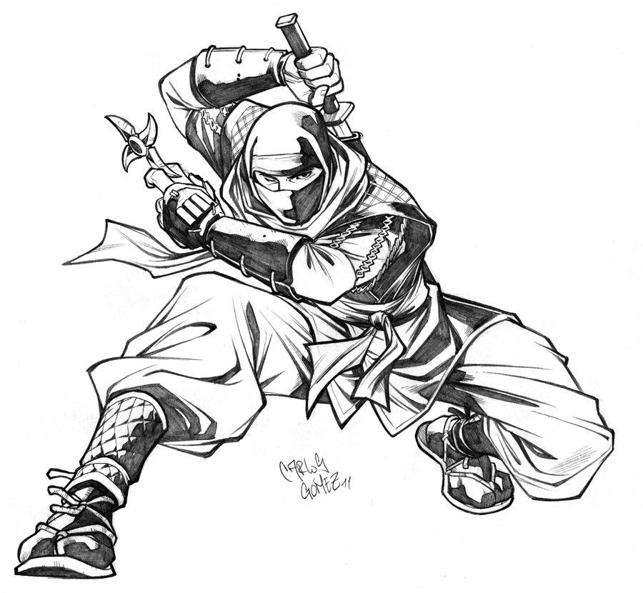 Line Art Ninja : Ninja sketch commission by