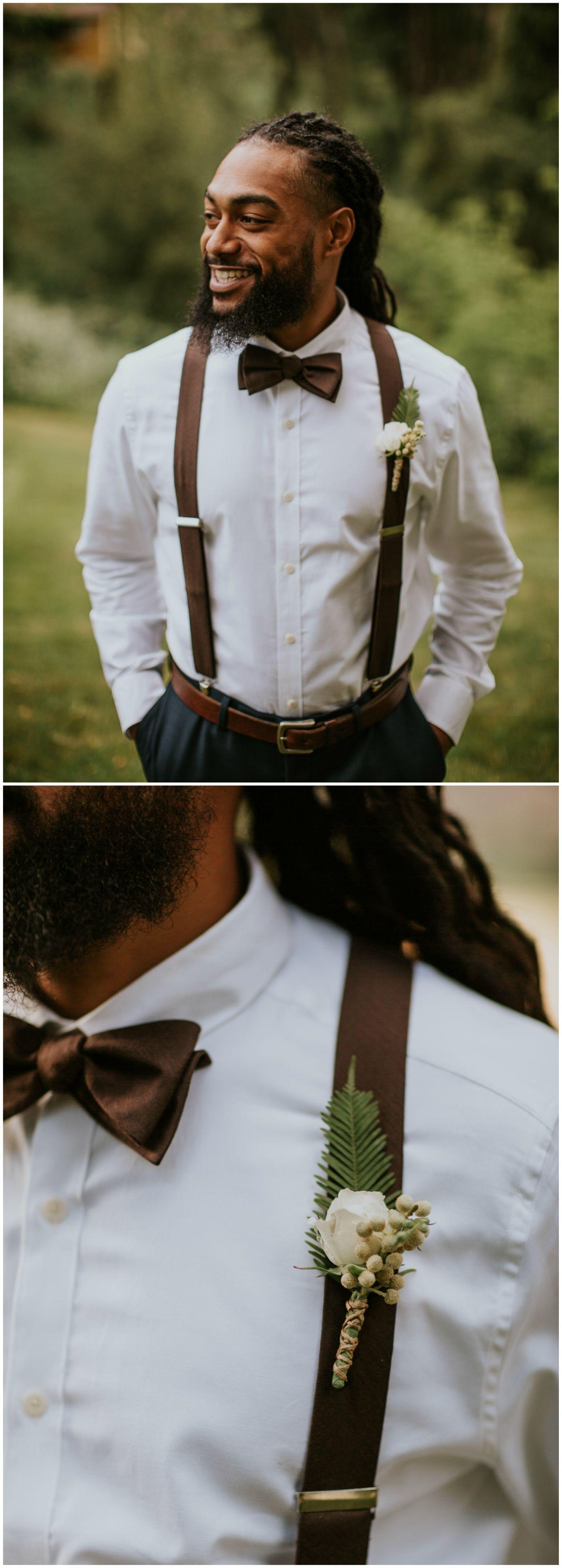 Groom attire, chocolate brown bowtie, satin suspenders