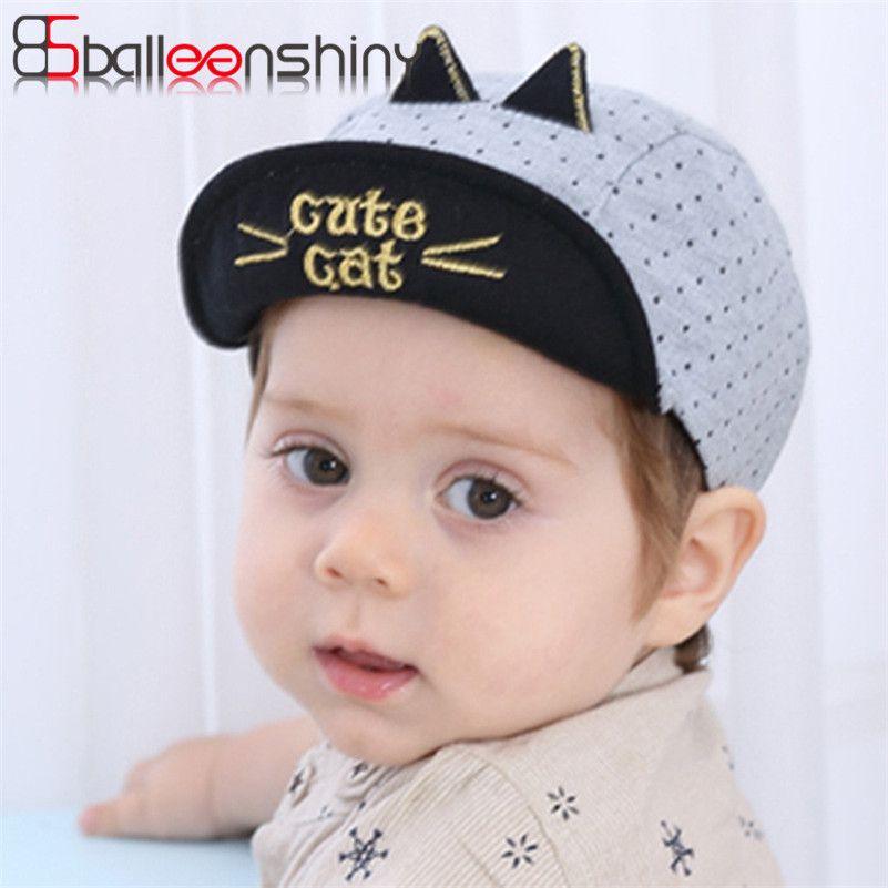 54c8b6a5548b8 Click to Buy    BalleenShiny Cute Cat Baby Hats Baby Baseball Caps Children.