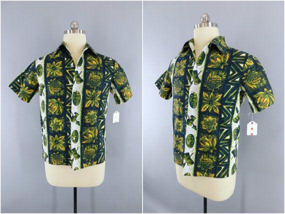 b339fb3b Vintage 1960s Hawaiian Shirt / 60s Aloha Men's Shirt / Vintage Mid-Century  Menswear / Green Pineapple Polynesian Hawaiian Print / Ui-Maikai  #AlohaShirt ...