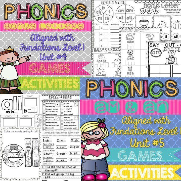 Fundations Level 1 Bundle Fundations Unit 4 and Fundations Unit 5 TONS of phonics activi… | Teacher projects. Phonics activities. Phonological ...
