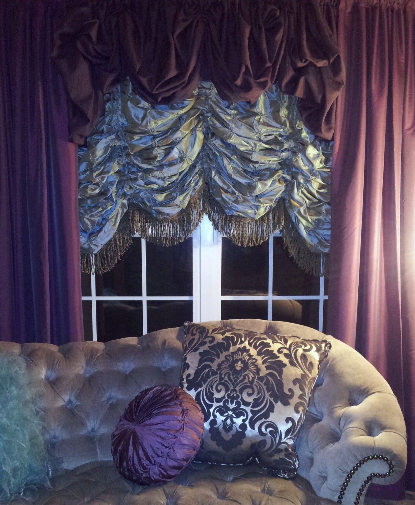 bay window valance ideas curtain ideas austrian shades with velvet drapery overtop idea is very cute but diff colors