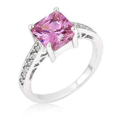 Penelope 2.1ct Pink CZ White Gold Rhodium Ring