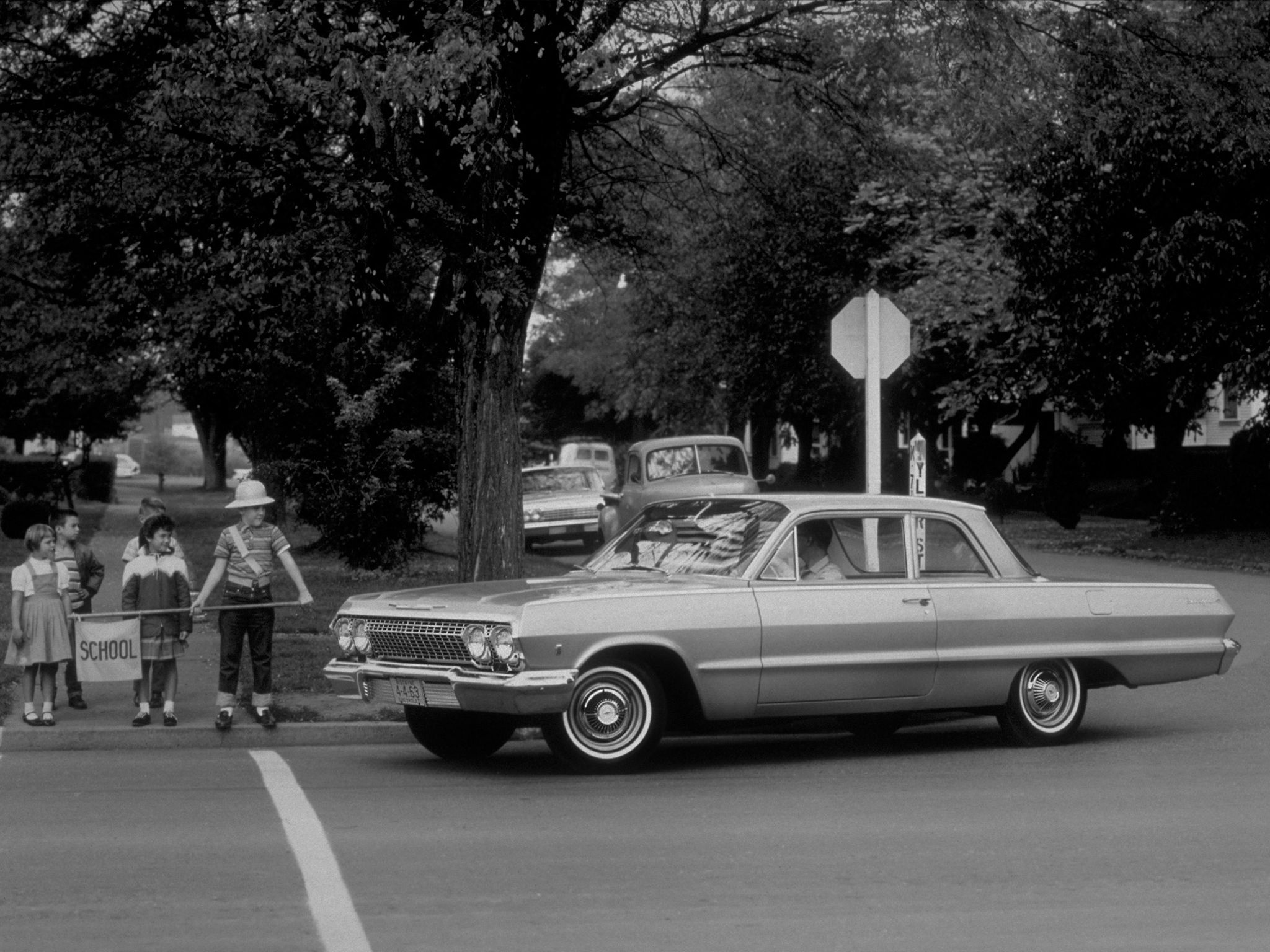 School Safety Patrol crossing guard. circa 1963