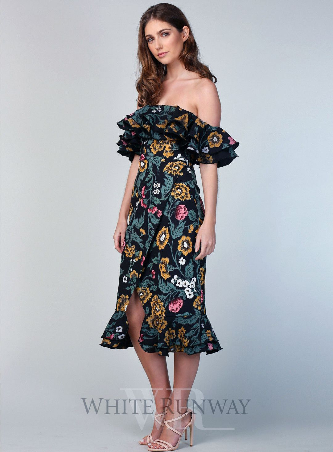 f3f7de569bfa Floral Immerse Midi Dress. A gorgeous midi length dress by C/meo  Collective. An off shoulder style featuring layered ruffle detailing along  neckline and ...