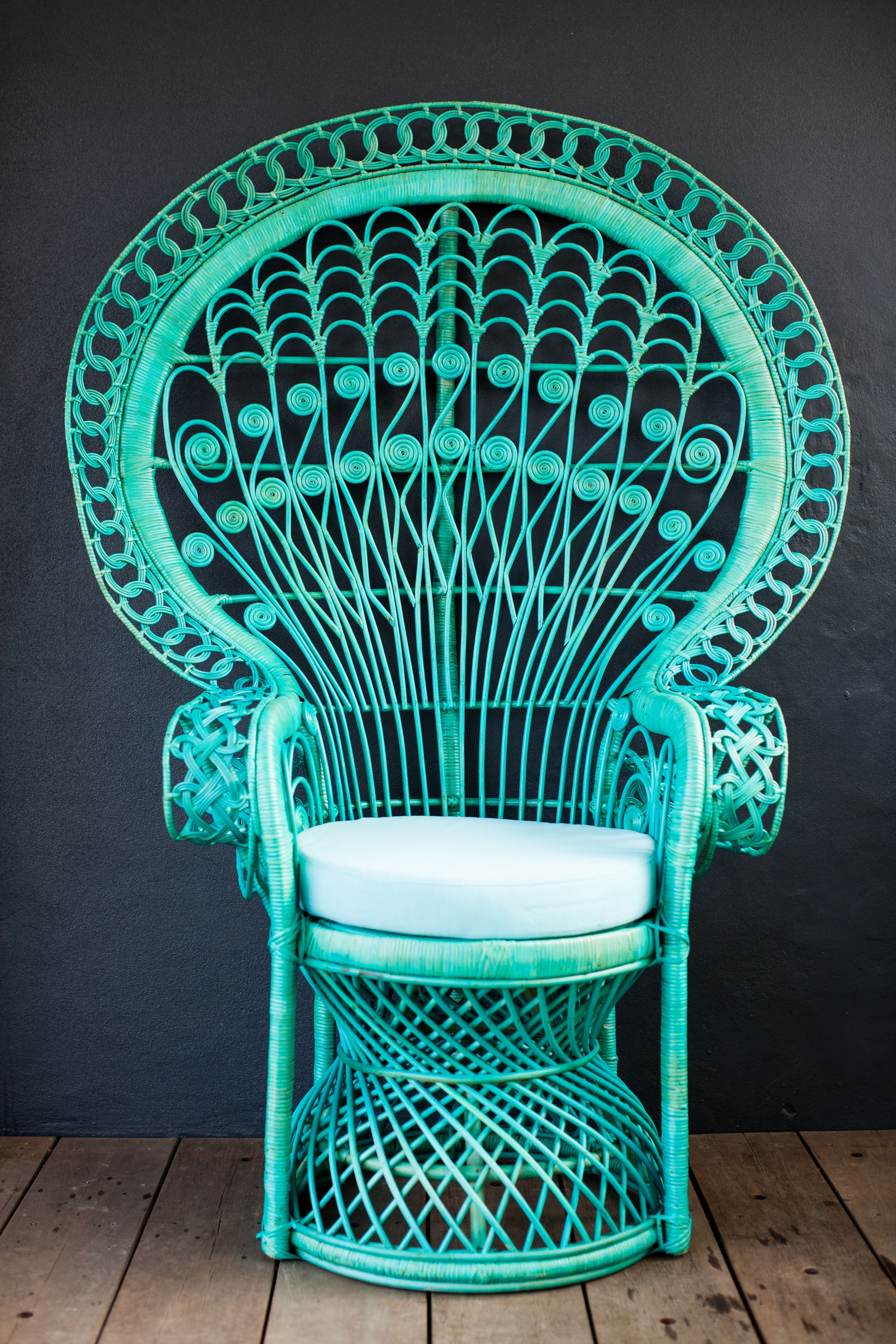 Painted peacock chair - Aqua Peacock Chair Milly Eugene