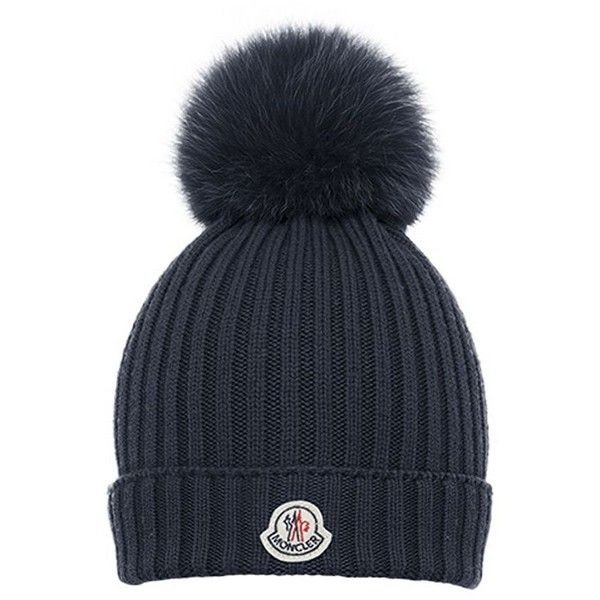 Moncler Fur Pom Pom Ribbed Wool Hat ❤ liked on Polyvore