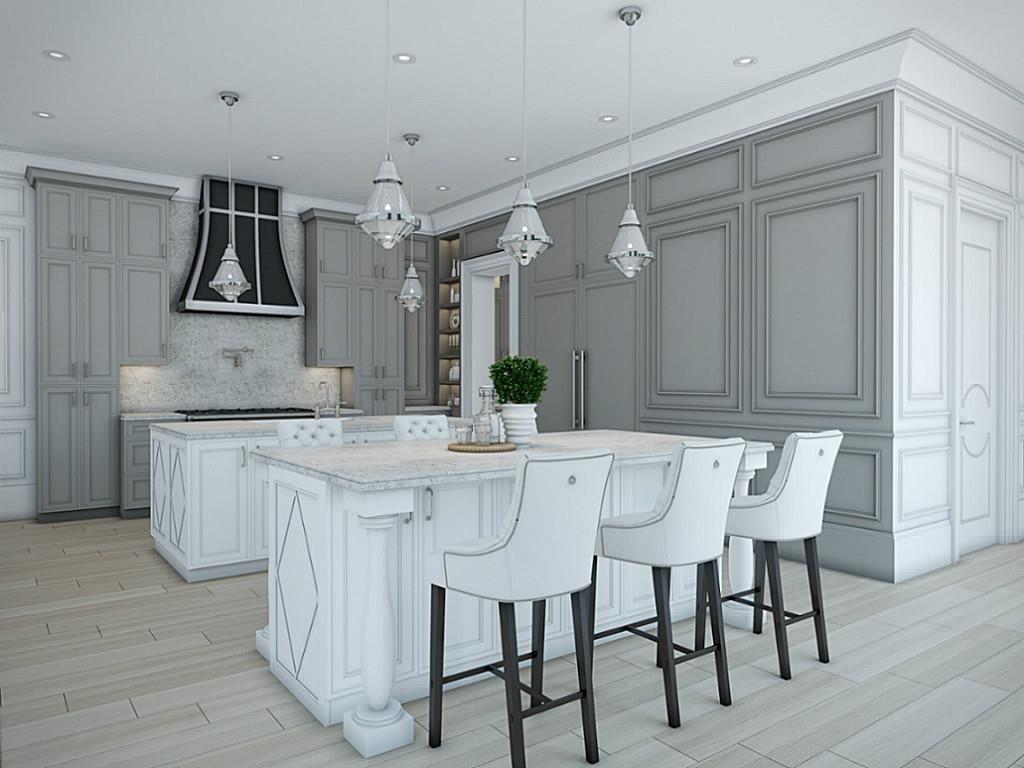 The kitchen features warm Grey custom Elmwood perimeter ...
