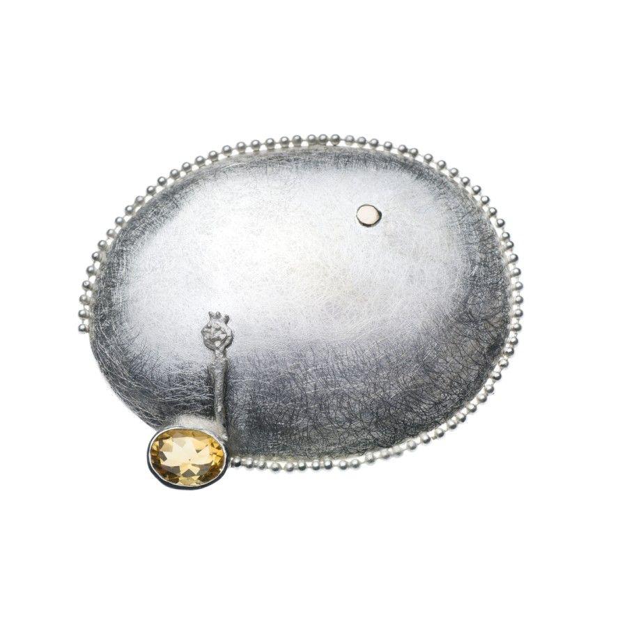 Lemon Quartz Silver Brooch
