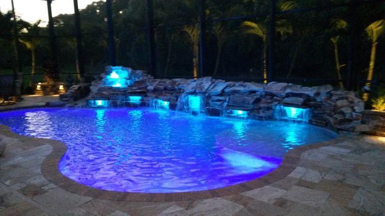 Pool Waterfall Lights Pesquisa Google Swimming Pool Waterfall