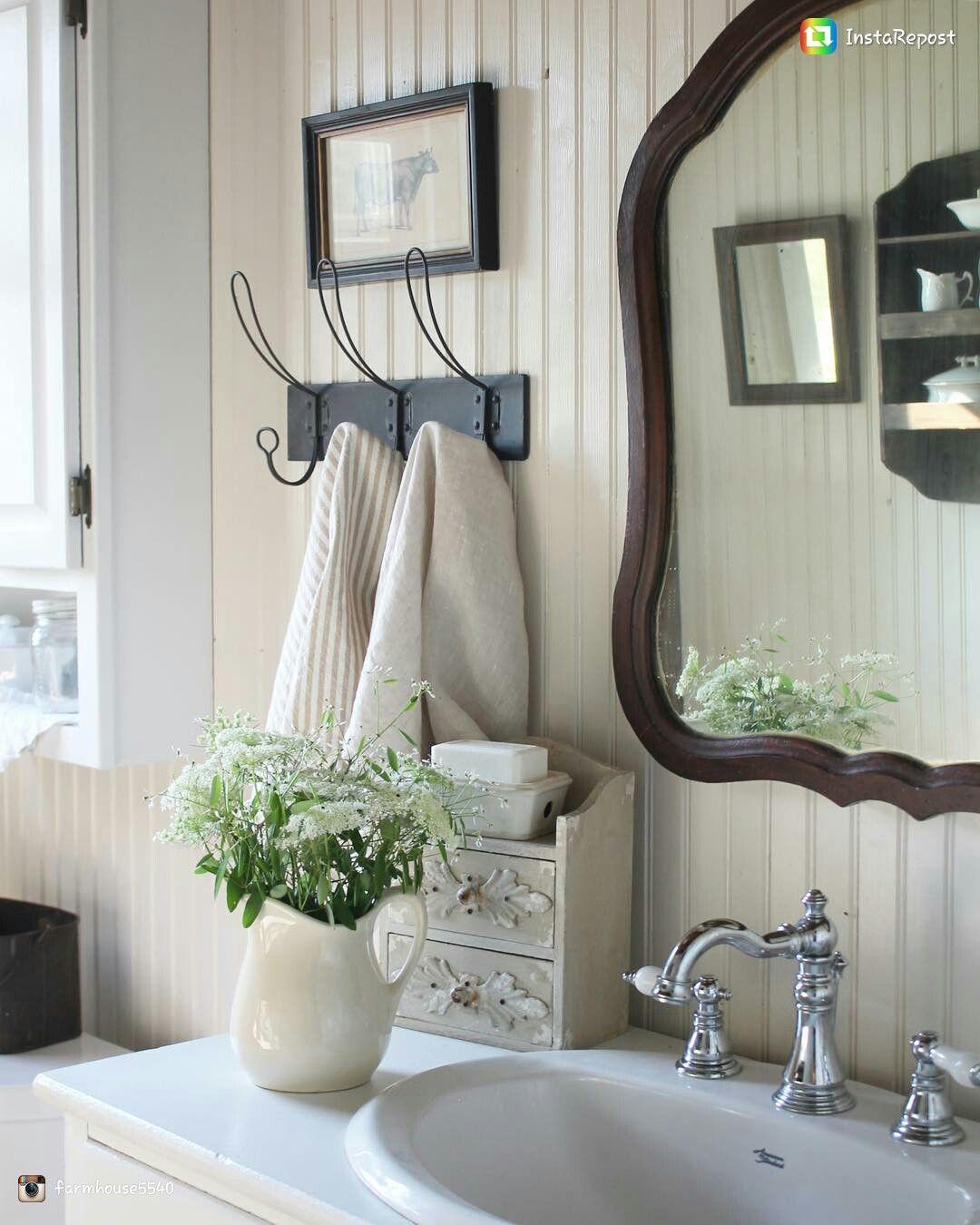 Love The Farmhouse Towel Hook Idea For Our Bathroom Farmhouse Bathroom Accessories Bathroom Remodel Designs Small Farmhouse Bathroom
