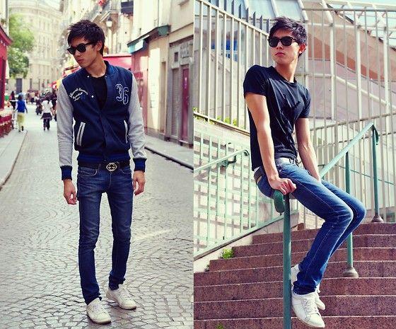 Ray Ban Wayfarer, H Baseball Jacket, Guccissima Leather Belt, Zara Skinny Jeans, Marc By Marc Jacobs Sneakers, Yves Saint Laurent Logo Tee Shirt