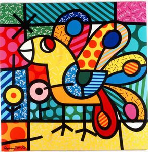 Image result for romero britto peacock artwork