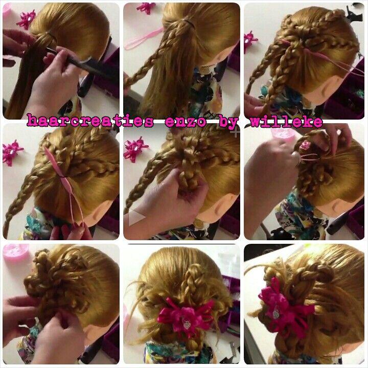 Braid flower bun updo hairstyle