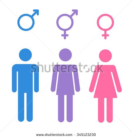 Set Of Gender Symbols With Stylized Silhouettes Male Female And