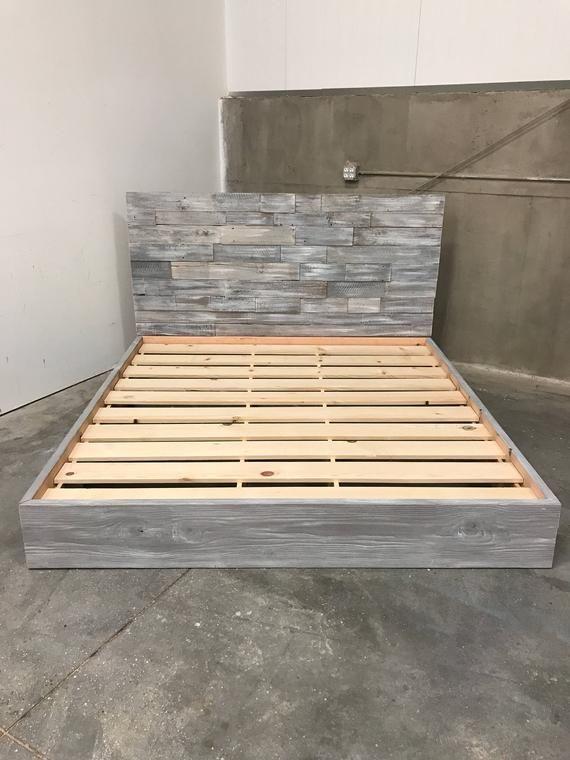 King Size Amanda Grey Driftwood Finished Bed With Horizontal
