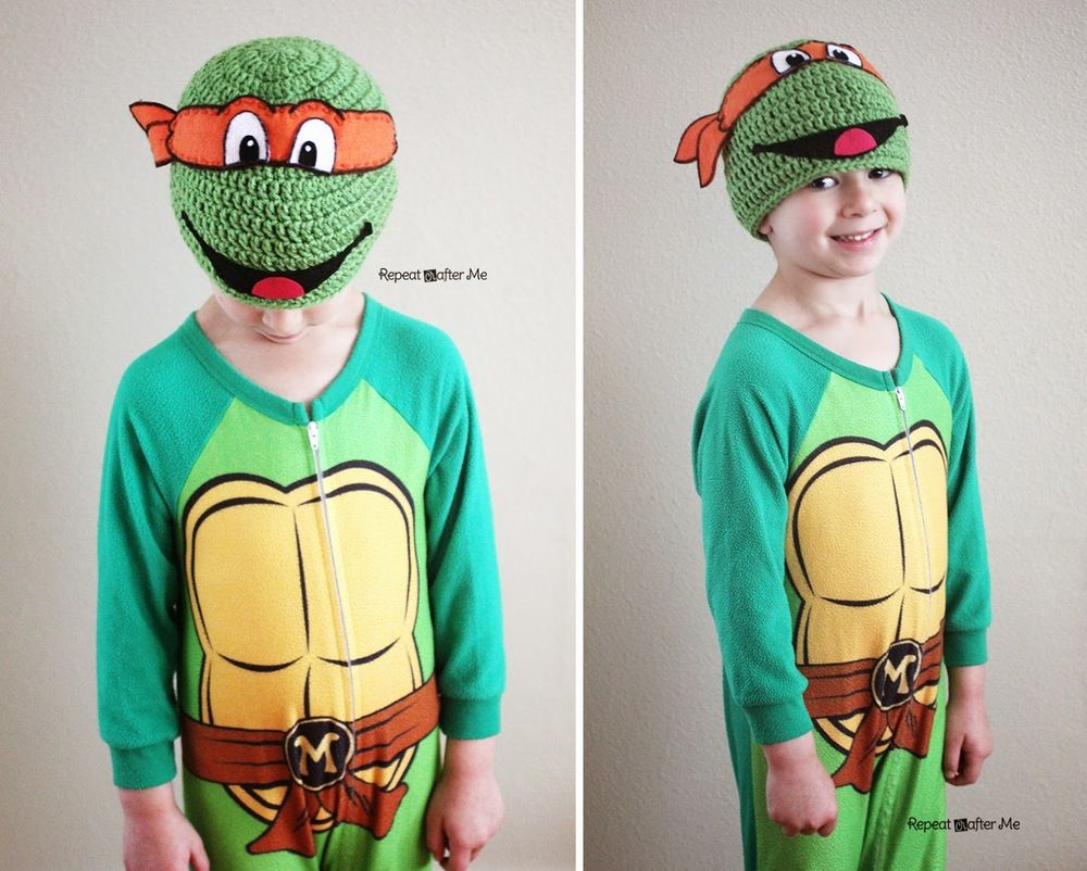 Crochet Ninja Turtle Hat | Arnes, Gorro tejido y Tejido
