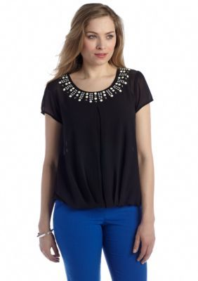 New Directions  Embellished Neck Blouse