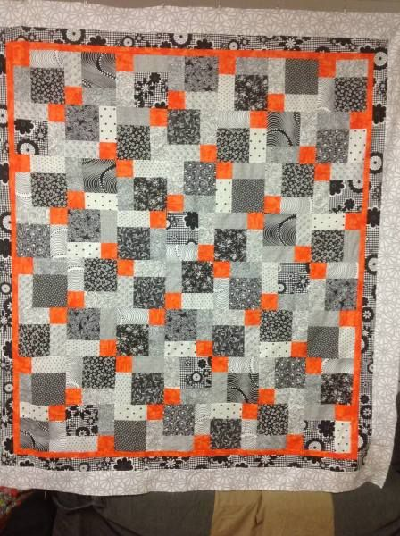 Orange and black and white quilt by Wendy Johnson /// 3rdRevolution