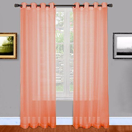 Warm Home Designs Pink Coral Sheer Window Curtains with G...