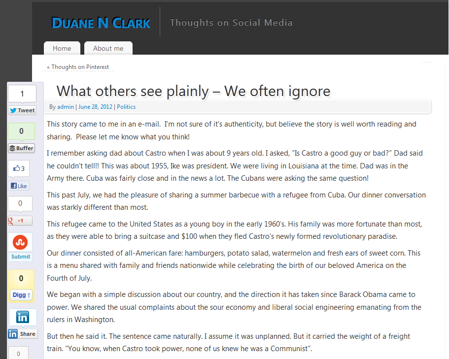 My latest Post at duanenclark.com