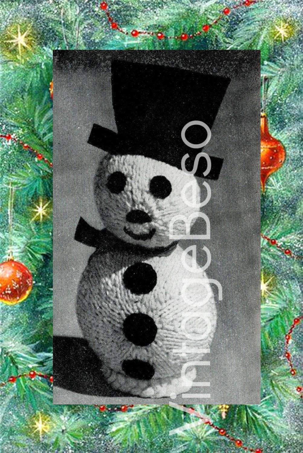Mr Showman SNOWMAN KNITTING PATTERN 1960s Christmas Tree Ornament Gift or Holiday Wrapping Topper Holiday Season Vintage Beso Knitted by VintageBeso on Etsy
